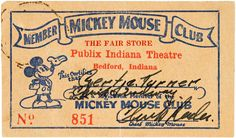 vintage mickey mouse club membership card.... need to make one for these for my hubs!!