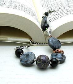Black Bohemian Beaded Bracelet Organic by cooljewelrydesign