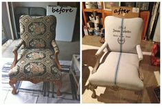 We painted the outdated upholstery on these antique chairs with a mixture of 50% ASCP and 50% water…