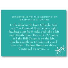 Lagoon Blue Starfish Wedding Directions Cards profilecard