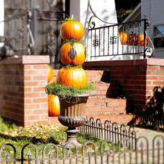 Pumpkin stacking is a cool way to add personality to your front lawn: http://www.bhg.com/decorating/seasonal/fall/pretty-pumpkins-for-fall/?socsrc=bhgpin092114pumpkinstack&page=17