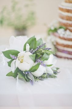 White peonies and lavender | Photo by Happy Confetti Photography