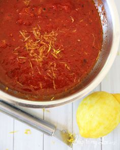 5 Minute Spicy Marinara Sauce!  Do not miss this easy recipe! www.skiptomylou.org #recipes #cannedrecipes