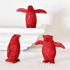 Glitter covered mini penguins