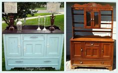 Old china cabinet turned into a shabby chic, vintage buffet.  Painted Blue Dahlia by Sherwin Williams, Java Gel Stain on the top, glass and cast iron knobs.  All work done by Vintage Paints, Orlando FL.