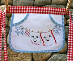 Childs laundry apron girls apron clothes pin by thoroughlymodernme, $24.00