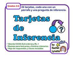 Tarjetas de Inferencia (Inference Task Cards in Spanish). $