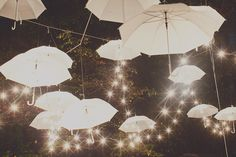 table decorations, reception decorations, wedding receptions, umbrella decorations, white umbrella, string lights, black white, outdoor weddings, outdoor receptions