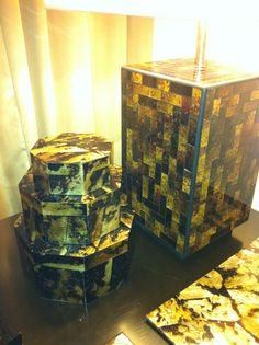 Tiger Pen Shell Lamp and Boxes by W/17