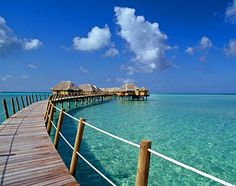 Overwater bungalows at Le Taha'a Private Island and Spa- French Polynesia