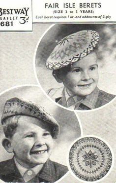 Fair Isle Beret Knitting Pattern : Vintage Knitted Hats on Pinterest Vintage Knitting, Knitting Patterns and H...