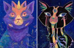 """Galactic Kitties"" Kristen Wright Victoria, British Columbia, Canada  #cat #catart #cats #art #illustration #painting"
