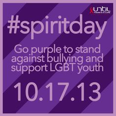 Celebrate GLAAD's #spiritday by wearing purple to show that you take a stand against bullying and support LGBT youth