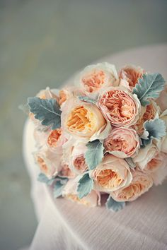 Gorgeous bouquet with peach garden roses