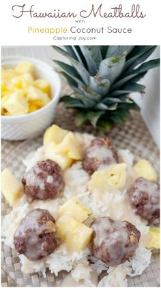 Family Friendly Hawaiian Meatballs with Pineapple Coconut Sauce recipe, the kids will love it!