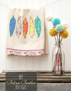 Pretty DIY Fabric Feathers Dishtowel - with free pattern!