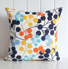 "Navy Blooms Decorative Pillow Cover - Orange Yellow Aqua Blue Polka Dot - Home - 16"" x16"" - living room -  Spring Summer Home Decor"