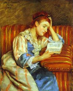 mari cassatt, young woman, stripe sofa, art, marycassatt, young women, book, mary cassatt, woman read