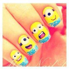 Cute nail art! LOVE the minions!!#cute#minions#nails#adorable#art#kawaii#japanese#3Dart