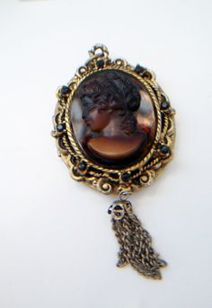 brown glass cameo locket pendant vintage cameo by ALEXLITTLETHINGS, $35.00