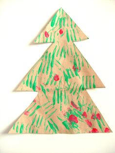 Use forks to paint a Christmas tree or paint white for a winter tree
