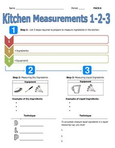 FLIPPED LESSON ASSIGNMENT- KITCHEN MEASUREMENT FOR USE WITH YOUTUBE - TeachersPayTeachers.com