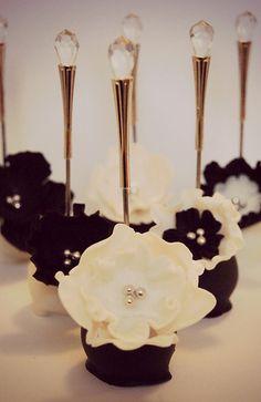 black and white wedding cake pops