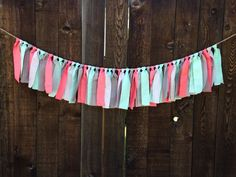 Simple Coral, Mint, & Grey Fabric Garland - Solid colors - modern nursery - charcoal - baby shower - wedding - playroom - tee pee decor on Etsy, $21.00