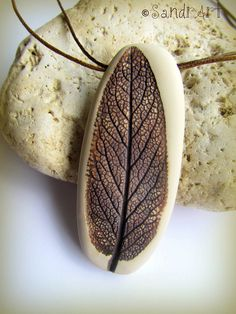 Polymer clay leaf by   SandrArt