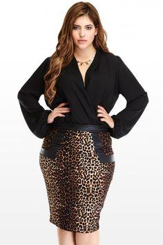 Plus Size Leopard Pe