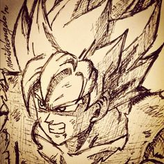 Sketching Super Saiyan Goku. #art #illustration