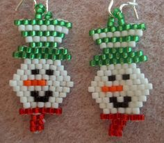 KIT Smiling Snowman Brick Stitch Bead Weaving by offthebeadedpath,
