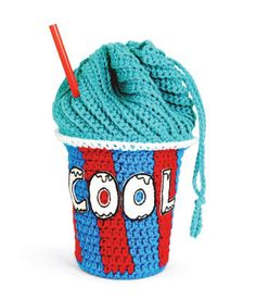 Loops & Threads® Impeccable™ Brights Blue Slushee Drawstring Bag Crochet Twinkie Chan twinki chan, craft, crochet bags, blue, drawstr bag, bag tutorials, crochet patterns, bag patterns, drawstring bags