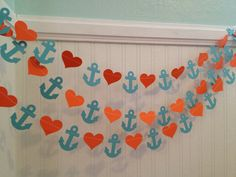 Turquoise and Orange Anchors and Hearts Paper by ClassicBanners, $9.00