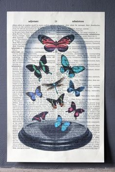 Antique Book Paper Prints - Display Dome & Butterfly - Unframed