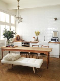 love the bench kitchens, bench, kitchen tables, white, wood tables, subway tiles, long tables, table legs, dining tables