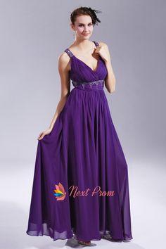 Long Purple Chiffon Evening Dress, V Neck Open Back Prom Dress, Purple V Neck Prom Dress, Floor Length Purple Evening Dress