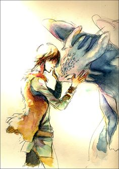 An awesome art photo of Hiccup as a young man hugging Toothless.