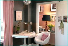 Closet office.  I adore pink and grey.