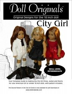 City Girl Dress, Jacket & Shorts, The second pattern in the City Girl Designer Series is now available as a pdf download at www.dolloriginals.com