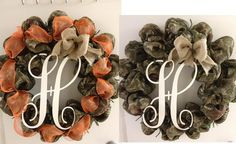 Monogram Letter wreath done in camo https://www.etsy.com/shop/TejanoTraditions