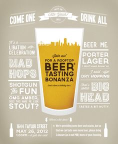 beer tasting party invite #typography