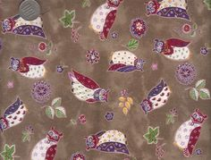 One Yard Japanese Cotton Fabric Sevenberry Owl by emicraftinjapan, $9.50