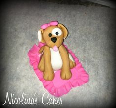 Pretty In Pink Puppy Cake Topper by NicolinasCakes on Etsy, $20.00