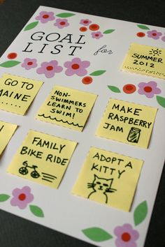 Rotating Goals List - Printable. $1.00, via Etsy.