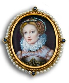 ANTIQUE VICTORIAN LIMOGES GOLD ENAMELED PEARL SAPPHIRE MINIATURE PORTRAIT BROOCH