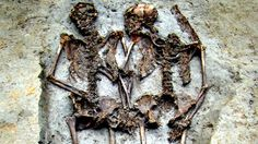 Lovers buried 1500 years ago holding hands and facing each other. They said the male skeleton's head rolled after death.