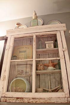 Weathered cabinet, beachy decor