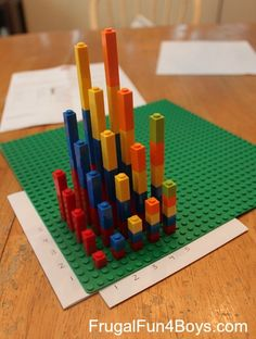 Love this idea to practice multiplication skills with Legos!  This is a great visual example of how multiplication really works!