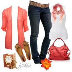 White top, salmon jacket, skinny jeans, and accessories.